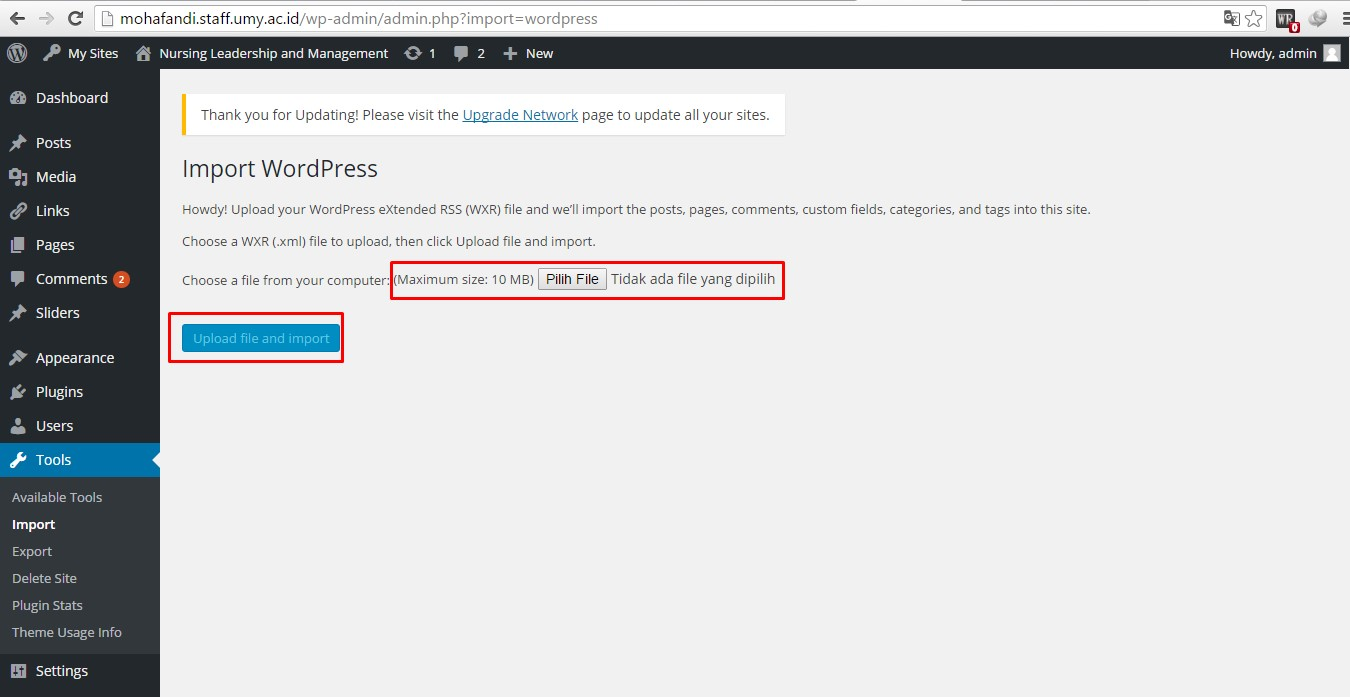 cara import blog wordpress ke blog staff
